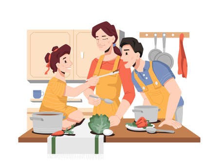 Family cooking together in kitchen, daughter helping mom and dad to prepare food for dinner or breakfast. Girl gives father to try soup, homemade dishes. Parents teaching to cook. Vector in flat style