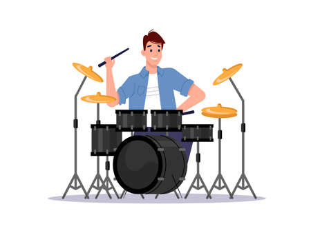 Musician playing drum set isolated percussion instrument and player. Vector drummer musician beating cymbals by drumsticks, player and jazz band equipment. Live music show concert, flat-cartoon 向量圖像
