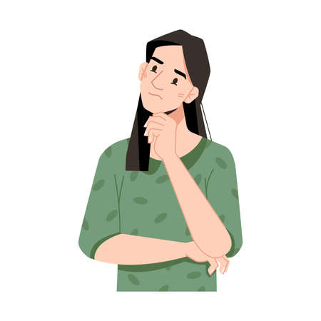 Girl thinking or planning, isolated brunette girl scratching chin in thoughts. Pensive and thoughtful lady, brainstorming worker choosing or dreaming. Cartoon character, vector in flat style 向量圖像
