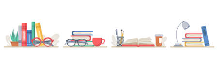 Books with school supplies, isolated set of stack of textbooks with lamps, coffee or tea cup. Pencils and pens for writing in diary. Table of student or pupil of college. Vector in flat style