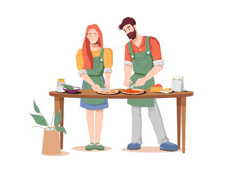 Happy young couple preparing pizza together isolated flat-cartoon man and woman. Vector young husband and wife cooks fast food snack, bakery food product with meat and vegetables, Italian cuisine dish