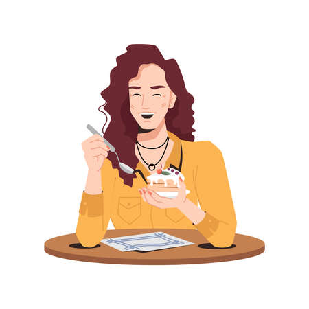 Stylish woman delighted with cake sitting at table in cafe or restaurant. Vector smiling caucasian eating vanilla biscuit with cherry flat cartoon character. Girl enjoying sweet dessert, spoon in hand 向量圖像