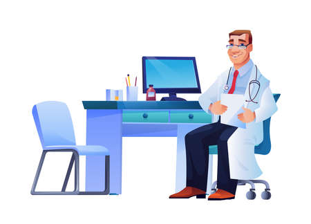 Smiling doctor physician, cardiologist practitioner with stethoscope sitting on chair at workplace, computer, stationery on table. Surgeon or therapist vector cartoon character with prescription list