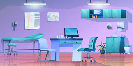 Doctors office interior panorama, clinic room with doctors table, medical bed, wash bin and shelves with medications. Vector practitioner cabinet with modern furniture, telephone and computer, lamps Vektorgrafik