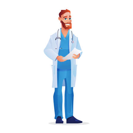 Doctor in blue scrub top and pants, with white coat isolated man. Vector medical worker with sheet of paper, appointment to patient. Physician, bearded pediatrician with prescription or therapy list