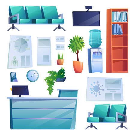 Hospital reception interior set of objects isolated on white. Vector row of chairs, reception desk, tv screen, water cooler. Shelf with folders of patients history, pot plants, medical check up lists