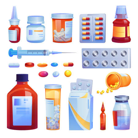 Medical drugs, pills and capsules set isolated cartoon icons. Vector various meds, glass bottles with liquid medicines, plastic tubes with caps. Medication pharmaceutical pharmacy tablets, syringe