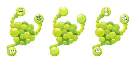 Comic virus isolated green germ mutant, laughing and angry emoticon with many hands or hands. Vector kids illness character, cartoon microorganism emoticon, microbe with eyes. Bad influenza fever Stock Illustratie