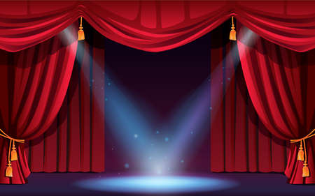 Classic stage with curtains and spotlights. Vector festive scene with lights and projectors. Concert, dance show, performance or music festival, illumination and decorations. Cinema ceremony scene Stock Illustratie