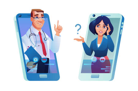Online consultation via smartphone, doctor and patient, woman with headache. Vector male practitioners in glasses with folder and stethoscope consulting ill person in mobile phone, medical support