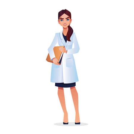 Young graduate student, doctor, nurse, veterinarian with documents in hands in white cloak isolated. Vector woman practitioner or surgeon, smiling physician, professional specialist, medical support
