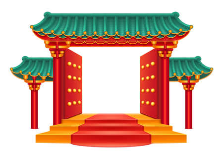 Entrance, Chinese gate with green bamboo roof isolated temple with decorative columns and pillars. Pagoda building, open door and red carpet. Japanese house, ancient oriental palace, asian pavilion