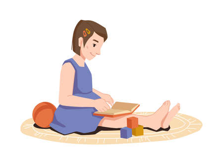 Child girl reading book while sitting on floor, toys around isolated preschool student. Vector pretty young reader sits on carpet and read fairy tales, ball and blocks , flat cartoon character
