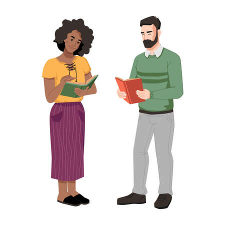 Afro american woman and caucasian man standing with open books, reading together. Vector black girl and guy chatting with textbooks. Bearded guy reads literature, people discussing novel or poetry