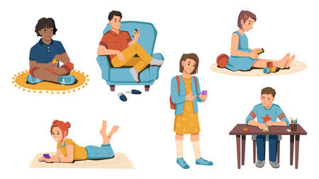 Young caucasian and afro american pupils with smartphones in hands isolated schoolchildren. Vector schoolboys and schoolgirls on carpets, at table and armchair, playing games on modern gadgets