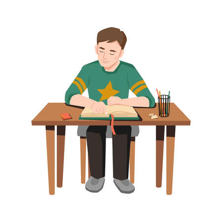 Male pupil sitting at table and doing homework. Vector schoolboy reading open book, glass with pens and pencils stationery on desk. Smart young student studying at home, distance learning