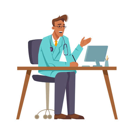 Doctor at workplace talking and gesturing, sitting by computer. General practitioner using laptop for video conference. Family doc consulting patients. Cartoon character, vector in flat style Stock Illustratie
