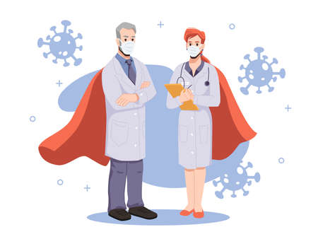 Team of heroic and brave doctors fighting against coronavirus disease. Man and woman in uniforms with papers and stethoscope. Hospital or clinics treatment. Cartoon character, vector in flat style