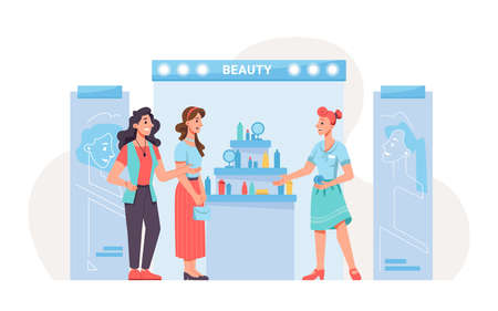 Expo exhibition stand, beauty products, people shoppers and promoter. Vector flat cartoon cosmetic products on stand, perfumes and lipstick, makeup goods. Woman buyers clients and seller, shopping