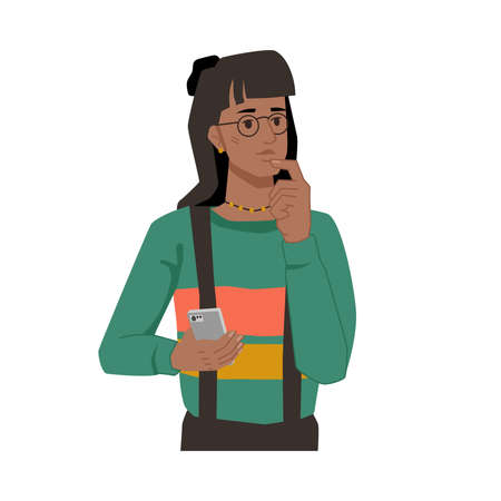 Thoughtful afro american girl with smartphone in hands isolated flat cartoon character. Vector girl thinking about life or love, what to write in text message or remembering contact phone number