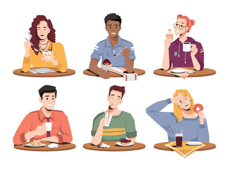 Happy people eat desserts isolated flat-cartoon men and women enjoying sweet food. Vector boys and girls with cupcakes, ice-cream and donuts, drinking soda, juice, coffee. Biscuits and fresh bakery