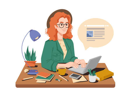 Journalist at her workplace writes article or post on laptop, cup of tea or coffee, books and pens, lamp and plant in pot on table. Vector woman correspondent writing publication in newspaper magazine