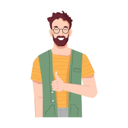 Bearded man smiling and showing thumbs up sign. Guy with gesture meaning approval, okay and like. Positive personage wearing glasses. Worker or boss of company. Cartoon character, vector in flat style