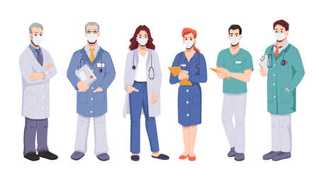 Doctors or surgeons team wearing uniform and protective masks. Coronavirus pandemic situation and fight against covid disease. General practitioners with documents. Cartoon character, vector in flat