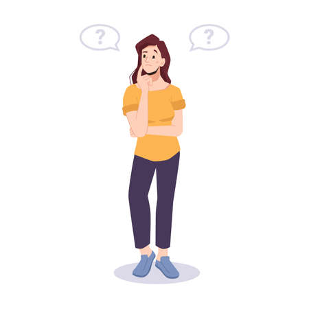 Girl full of thoughts, puzzled lady making choice. Wondering or thinking student with cloud bubbles and question marks. Pensive personage with finger on cheek. Cartoon character, vector in flat style