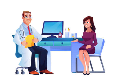 Woman on consultation of general practitioner isolated people sitting at table. Vector patient and medical specialist man therapist in white coat, stethoscope and illness history. Female and physician