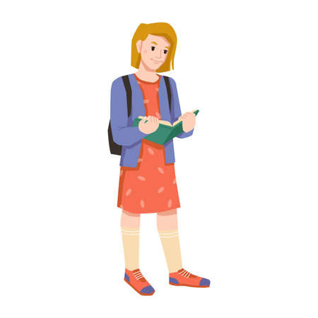 Elementary or primary school pupil with open book and backpack isolated flat cartoon character. Vector young teenager or kindergarten female child reads textbook, schoolbag rucksack behind schoolchild Stock Illustratie