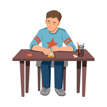 Male pupil sitting at table and browsing smartphone isolated young boy with modern gadget. Vector schoolboy texting or chatting in mobile phone, distance learning on quarantine, online education