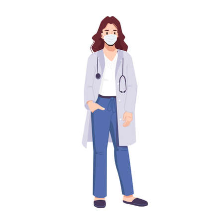 Woman doctor in mask wearing surgical medical uniform and stethoscope. Cartoon character working in hospital or clinics. Coronavirus pandemic general practitioner or family doc. Vector in flat style