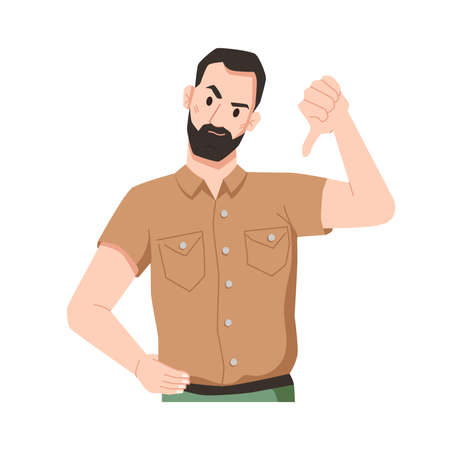Disgruntled bearded male character expressing disapproval gesturing and showing thumbs down. Annoyed man denying or disagreeing, dislike or negative feedback from client. Vector in flat style