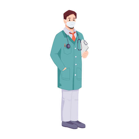 Doctor wearing protective mask holding documents. Surgeon with stethoscope. Isolated general practitioner or family doc. Professional care and treatment. Cartoon character, vector in flat style Stock Illustratie