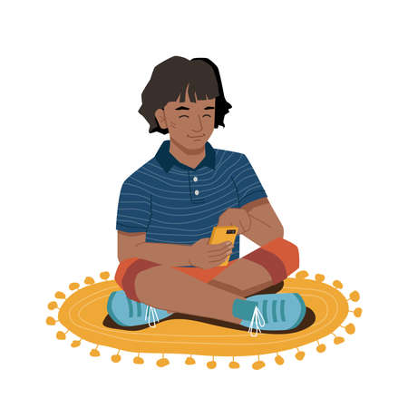 Young girl with smartphone in hands sitting on carpet isolated. Vector afro american elementary school student with phone chatting, browsing and watching cartoons. Pretty kid spend leisure time Stock Illustratie