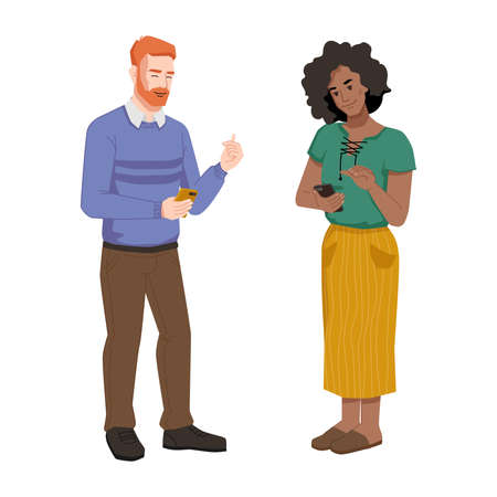 Man and woman with smartphones isolated people chatting, reading or watching videos on mobile phones. Vector people with cellphones, redhead guy and afro american girl. Couple communicating by phones