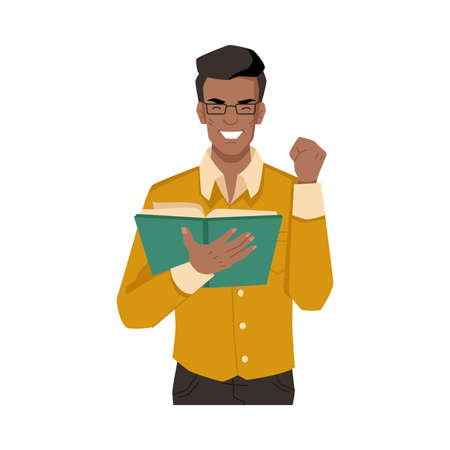 Man enjoys reading book isolated afro american flat cartoon character feeling with novel or poetry. Educated european or american guy with literature in hand, studying or leaning university student