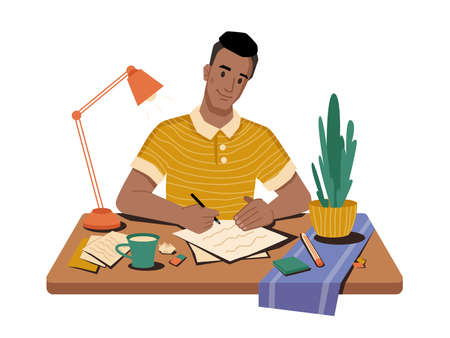 Journalist at workplace writing article or post sitting on table, cup of tea or coffee, papers and pens, lamp and plant in pot on desktop. Vector man correspondent writing publication in newspaper