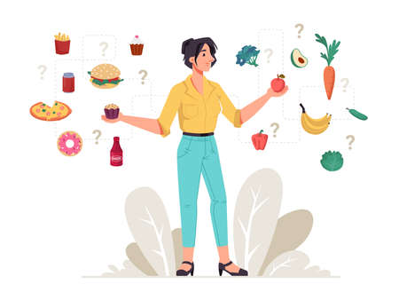 Healthy and unhealthy food woman choice between fastfood snacks and fresh vegetables and fruits. Vector dietary food, female choose between hamburger, cake and apple, pizza, avocado, donut and carrot Stock Illustratie