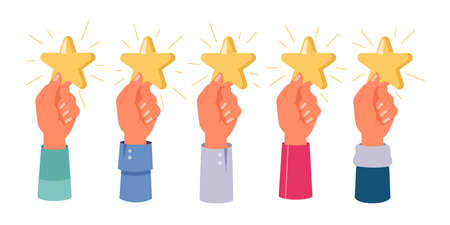 Hands holding stars, rating, feedback isolated set. Vector five star mark, positive review, satisfaction sign. Evaluation of service by customer, top 5 rate. Best results and reputation, excellent