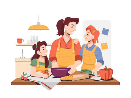 Family cooking breakfast or dinner together. Daughters helping mom to prepare food. Girls and mom wearing aprons with vegetables. Fun activities at home. Cartoon character, vector in flat style Ilustración de vector