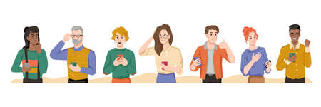 People use smartphones with different emotions, internet addiction, happiness and sadness, multinational man and woman showing feelings. Vector characters spend leisure time browsing or chatting