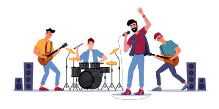 Rock music band, musicians playing on guitars, drum set and singer with microphone, soloist singing songs. Vector music players perform on electric string instruments, man sing in mic, jazz group Stock Illustratie