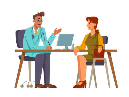 Woman patient at consultation at doctors. Appointment with family doc, lady discussing problems with health. general practitioner giving recommendations. Cartoon character, vector in flat style Stock Illustratie