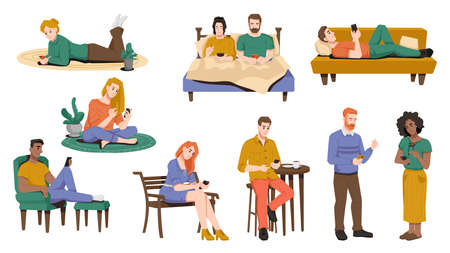 Internet addiction, people using smartphones in bed, sitting on armchair or on bench, lying on sofa, floor. Vector man and woman spend leisure time browsing or chatting in mobile phones, flat cartoon