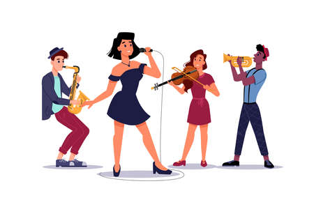 Classic music band, woman singer soloist, saxophone and trumpet players, isolated musical group. Vector concert or performance with musicians, sexy woman singer and violinist plays on violin Stock Illustratie
