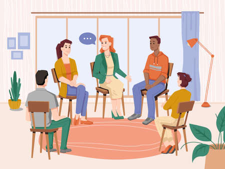 Group therapy indoors, people sitting on chairs in circles, meeting session with psychologist. Vector therapist discussing problems with patients. Psychotherapy, man, woman counselor on consultation