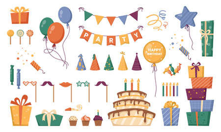 Presents in carton boxes with decorative ribbons for birthday. Holiday celebration and congratulations. Cone hats and inflatable balloons, stars and confetti with cake and candles. Vector in flat Illusztráció