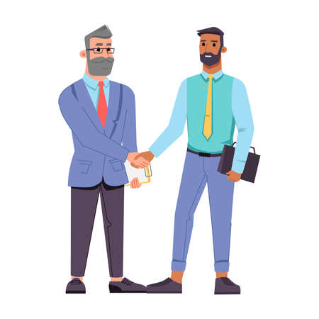 Businessman of different ages shaking hands isolated flat cartoon characters. Vector bearded middle age boss in glasses and young worker greeting by handshake, cooperation and agreement, teamwork